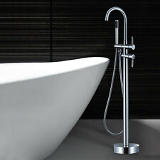 Free standing Floor Mounted Bathtub Shower Faucet Spout Mixer Tap Hand Held Tub