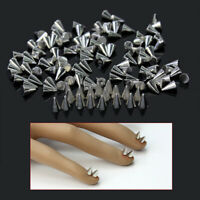 100PCS Silver Metal Punk Cone Nail Spikes Metallic Stud Studded Decorati KSG
