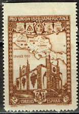 Spain Map of Central American Countries and Sevilla Castle stamp 1930 MLH error