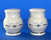 Longaberger Pottery Classic Blue WOVEN TRADITIONS Salt Pepper Shakers