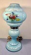 Scarce Antique Bohemian Czech Blue Opaline Hand painted Boudoir Lamp
