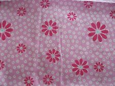 Pink floral curtains with heading tape top & tiebacks 66x72