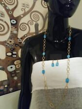 Long Chain Necklace W/ Blue Beads Intermixed. Earrings To Match. By K &K Interio