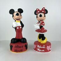 Disney Parks Mickey & Minnie Mouse Plastic Vinyl Coin Piggy Bank w/ Plug 11""