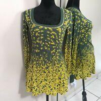 Free People Long Sleeve Tunic Top Blouse Womens size XS Green Yellow