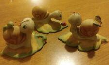 New ListingVintage Homco Ceramic 3 Anthropomorphic Snails on Leaf #8902 Taiwan