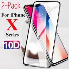 2X 10D Black White Glass For iPhone  X XR XS Max Cover Tempered Screen Protector