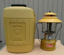 COLEMAN MODEL 228F GOLD BOND DOUBLE MANTLE LANTERN W/ CLAMSHELL CARRY CASE 6/72