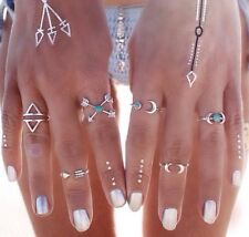 Beach Silver Women's Midi Moon Rings With Turquoise.Bohemian- festival.