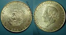 MESSICO MEXICO CINCO 5 PESOS 1955 HIDALGO ARGENTO SILVER