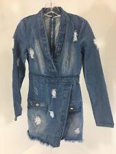 MISSGUIDED WOMEN'S PLUNGE NECK DISTRESSED DENIM DRESS MID BLUE UK8/US4 NEW