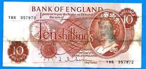 "England B294 10s QEII JQ HOLLOM ""C"" Portrait Series Prefix # Y88 04.04.1963 aVF"