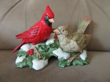 Homco Male & Female Cardinals with Holly Figurine,Used,6 1/2 in.long