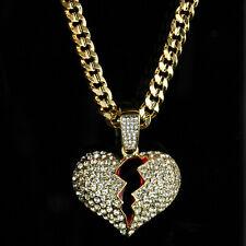 """Mens 14k Gold Plated Hip Hop BROKEN HEART Pendant 5mm 30"""" Cuban Necklace Chain"""