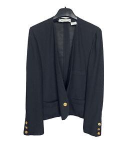 Sonia Rykiel Vintage Black Cropped Blazer Jacket One Golden Button