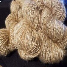 CRAZY Handspun Satin Angora Yarn Natural Fawn 100 yds lace to fingering wt 2 ply