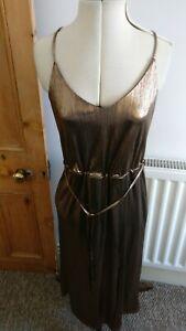 NEW Ladies size 10 Gold Bronze Colour Calf Length Summer Dress