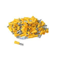 "Car Home Audio Yellow Female Quick Disconnector .250"" 12-10 - 100 pcs"