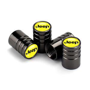 Black Chrome Jeep Tire Valve Dust Air Cap Cover Emblem Yellow Wrangler Gladiator