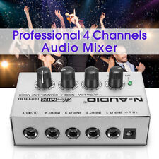 Portable MX400 Micromix Line Mixer 4 Channels Ultra Compact Low Noise Audio 12V