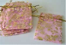 10 NEW PINK & GOLD ROSES ORGANZA GIFT BAGS 75mm x 87mm FAVOUR PARTY S M BIRTHDAY