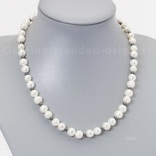 Halskette Kette Collier aus weisse Perlen 8mm und Hämatit Geschenk 1844