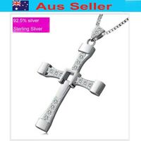 Sterling silver Cross pendant Sliver 925 coated W/Rhodium(White Gold) Large size