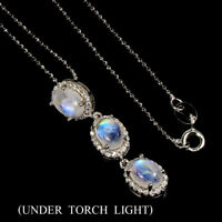 Unheated Oval Moonstone Fire Blue 7x5mm Cz 925 Sterling Silver Necklace 18inch
