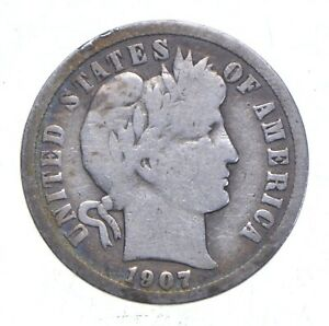Higher Grade - 1907 Barber Liberty US Silver Dime - Great Detail in LIBERTY *083