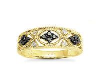 10K Yellow Gold Black & White Diamond Ring Vintage Style Diamond Band .25ct