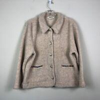 Orvis Jacket Women's L Beige Sherpa Fleece Button Front Winter Pile Jacket
