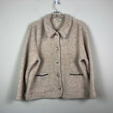Orvis Jacket Women's Large Beige Sherpa Fleece Button Front Winter Coat