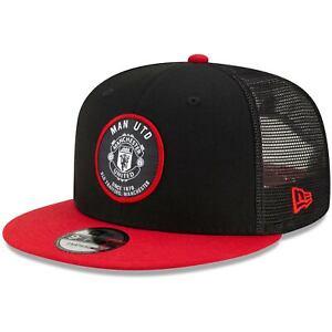 Manchester United New Era Tech Pack 9FIFTY Team Trucker Snapback Hat - Black