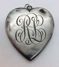 Antique Victorian Sterling Silver Large Heart Locket Pendant