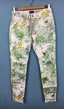 Ted Baker White Green Butterfly Bird Dancing Leaves Skinny Jeans W28 10 - B61