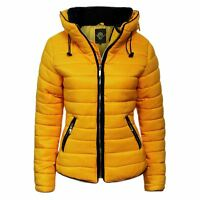 New women's Ladies Quilted Padded Puffer Bubble Fur Collar warm Jacket Coat