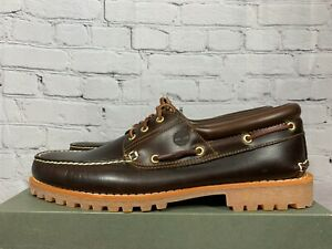 TIMBERLAND ICON 3-EYE CLASSIC HANDSEWN LUG SHOES MEDIUM BROWN 6500A MENS SIZE 15