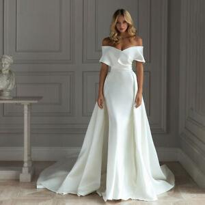 Detachable Train Satin Mermaid White/Ivory Wedding Dress Sleeveless Bridal Gown