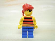 LEGO Figur Pirat schwarz rot gestreiftes Hemd Augenklappe Bandana pi032  1788
