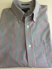 Lands' End Mens 16 1/2 33 1/2 Shirt Non Iron Tailored Fit Plaid Blue Red