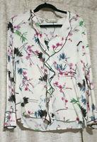 Zara Floral Multicolour Bird Blouse Top With Frill Size Medium