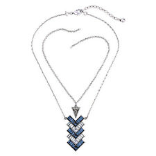 Lola Gorgeous Statement Pendant Necklace Art Deco Sapphire Crystal Edgy Triangle