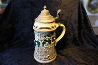 Krug, Bierkrug, Seidel, Maßkrug, Vorkriegzeit Zinn Deckel 0,5 Liter