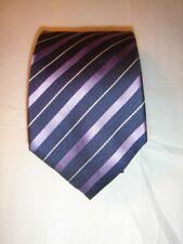 Hugo Boss Purple & Navy stripe   Silk Tie 8cm