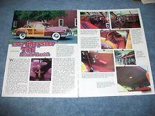 """1947 Chrysler Town And Country Sedan History Info Article """"Private Varnish'"""
