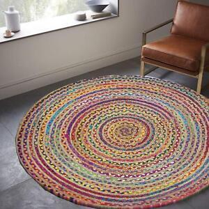 Round Rug Woven Chindi Cotton Jute Indian Bohemian Braided Area Decorative Rug