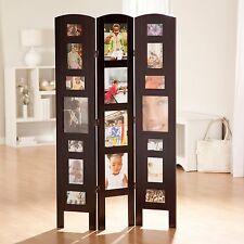Brown Multi Photo Frame 3 Panel Room Divider Home Living Bedroom Furniture Den