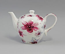 9952286 Porzellan Tee-Kanne Dekor Blüten pink Jameson&Tailor 1,3l H16,5cm