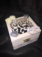 Personalized wooden white& Silver wedding ring box jewellery box velvet  cushion