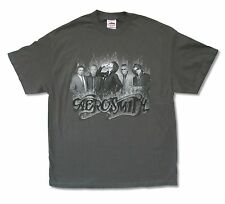 AEROSMITH SMOKING BAND PHOTO GREY T-SHIRT NEW OFFICIAL BAND MUSIC ADULT XL